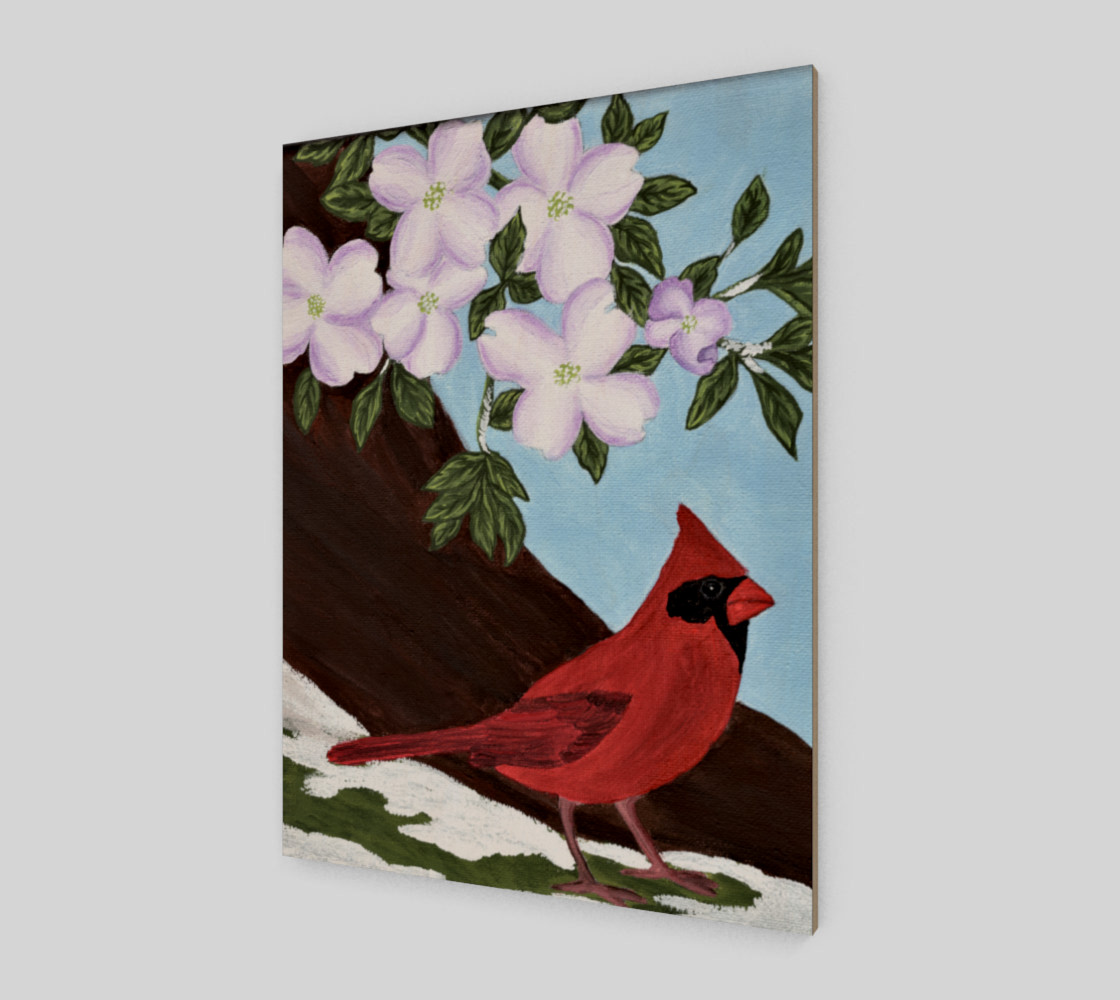 Cardinal and Dogwood Tree preview #2