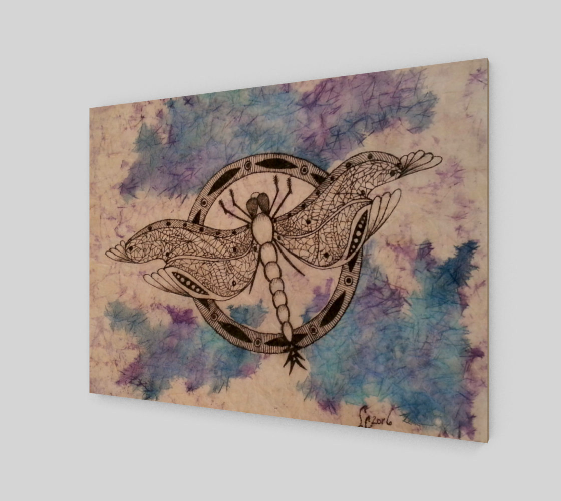 Watercolor Batik Dragonfly Print preview #2