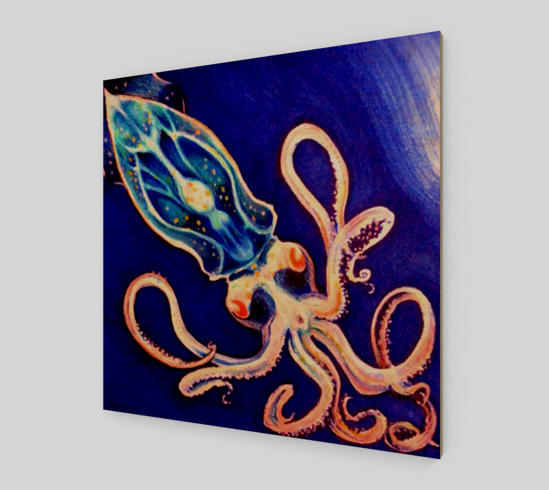 Translucent Squid Art - Wood Print preview #1