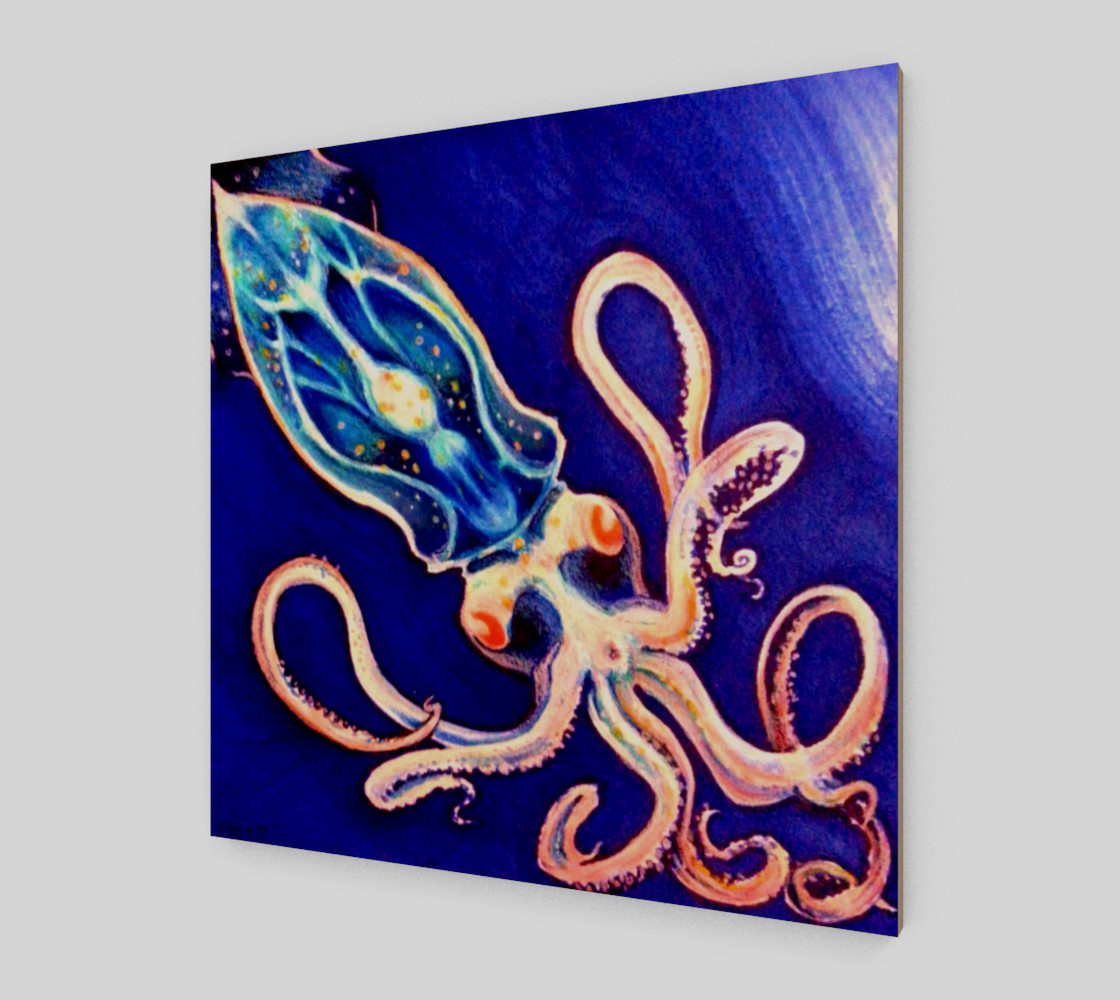 Translucent Squid Art - Wood Print preview #2