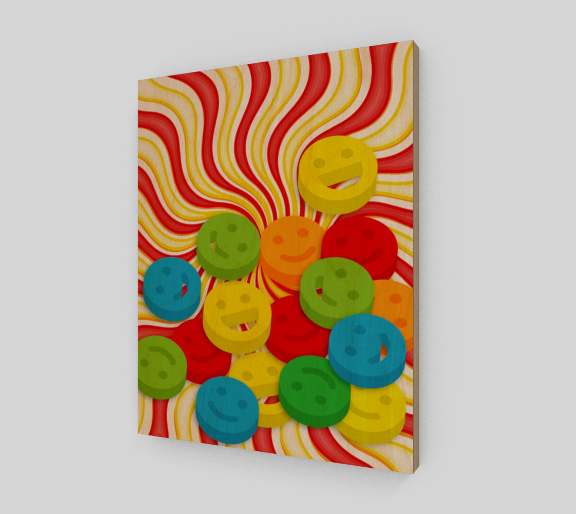 Aperçu de Rainbow Candy Swirls and Smiley Face Emojis Wall Art #1