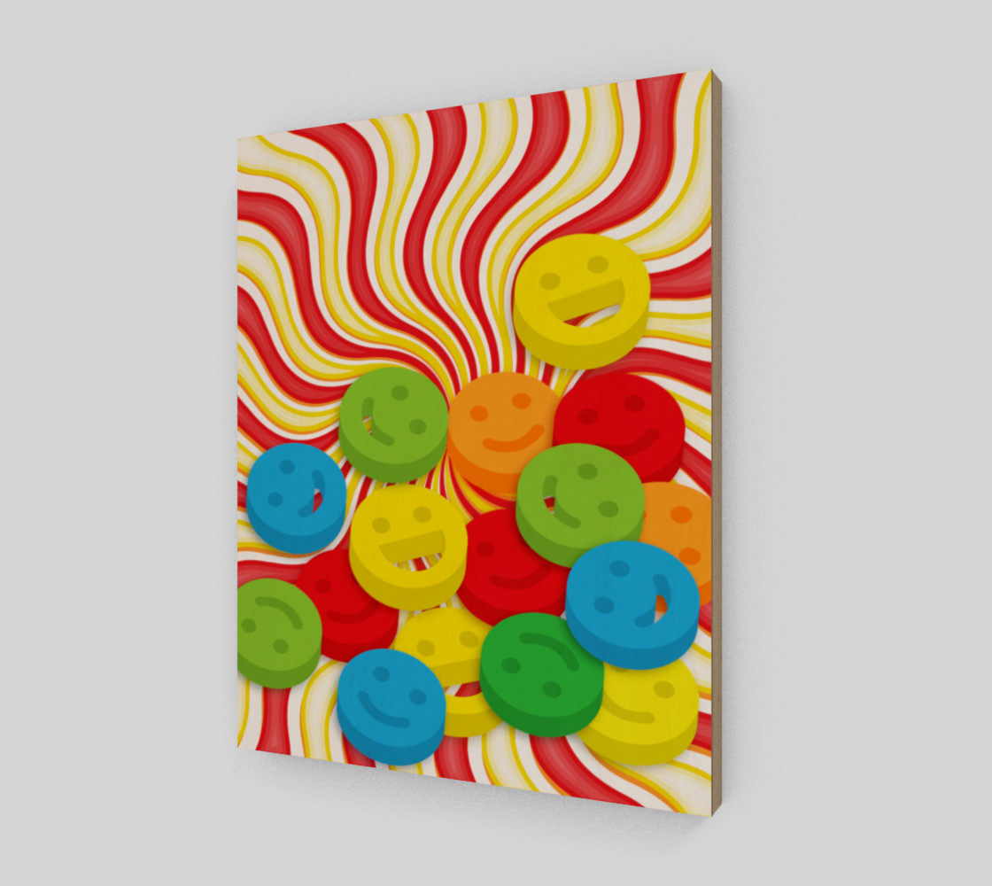 Aperçu de Rainbow Candy Swirls and Smiley Face Emojis Wall Art #2