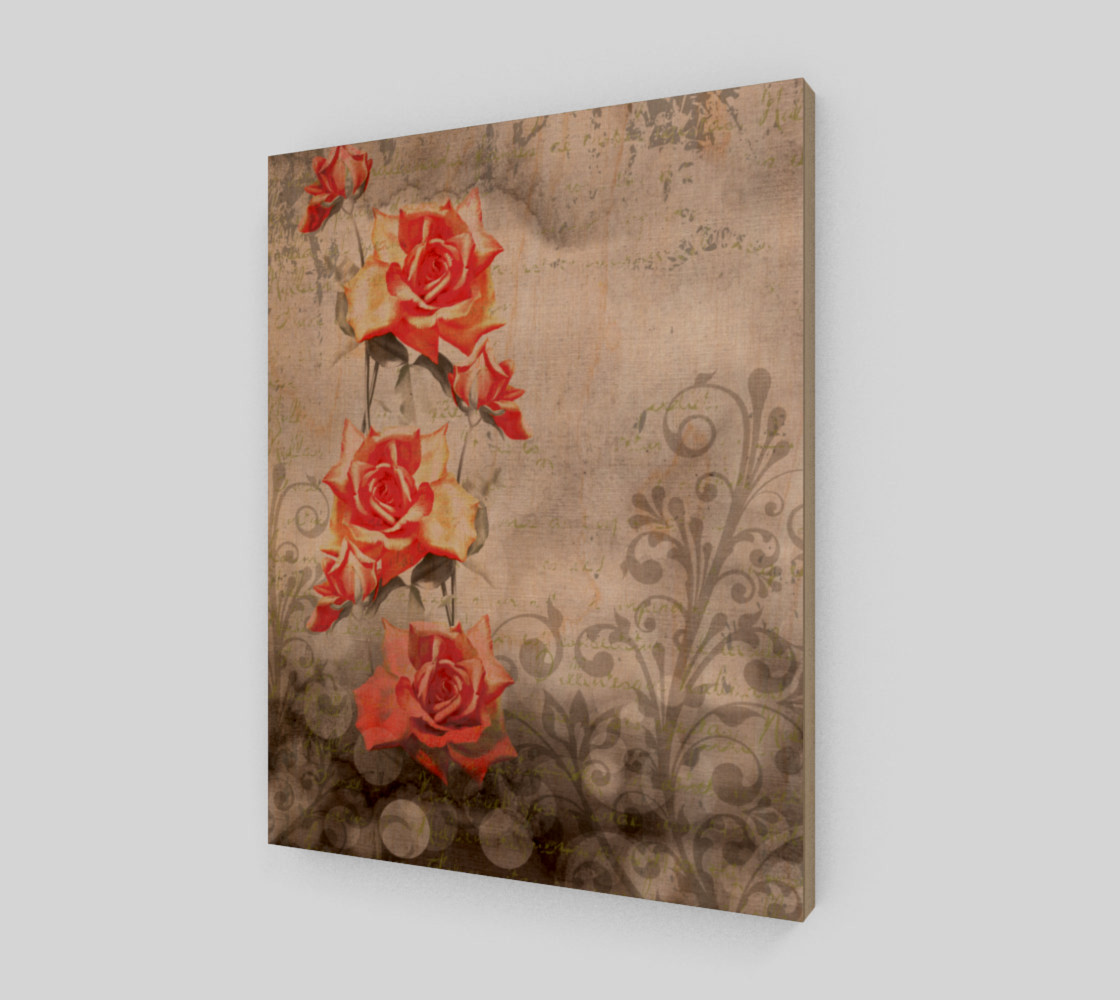 Vintage Red Rose Grey Floral Wall Art Miniature #2