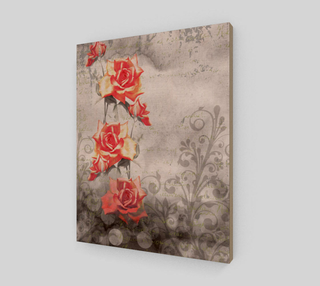 Vintage Red Rose Grey Floral Wall Art Miniature #3