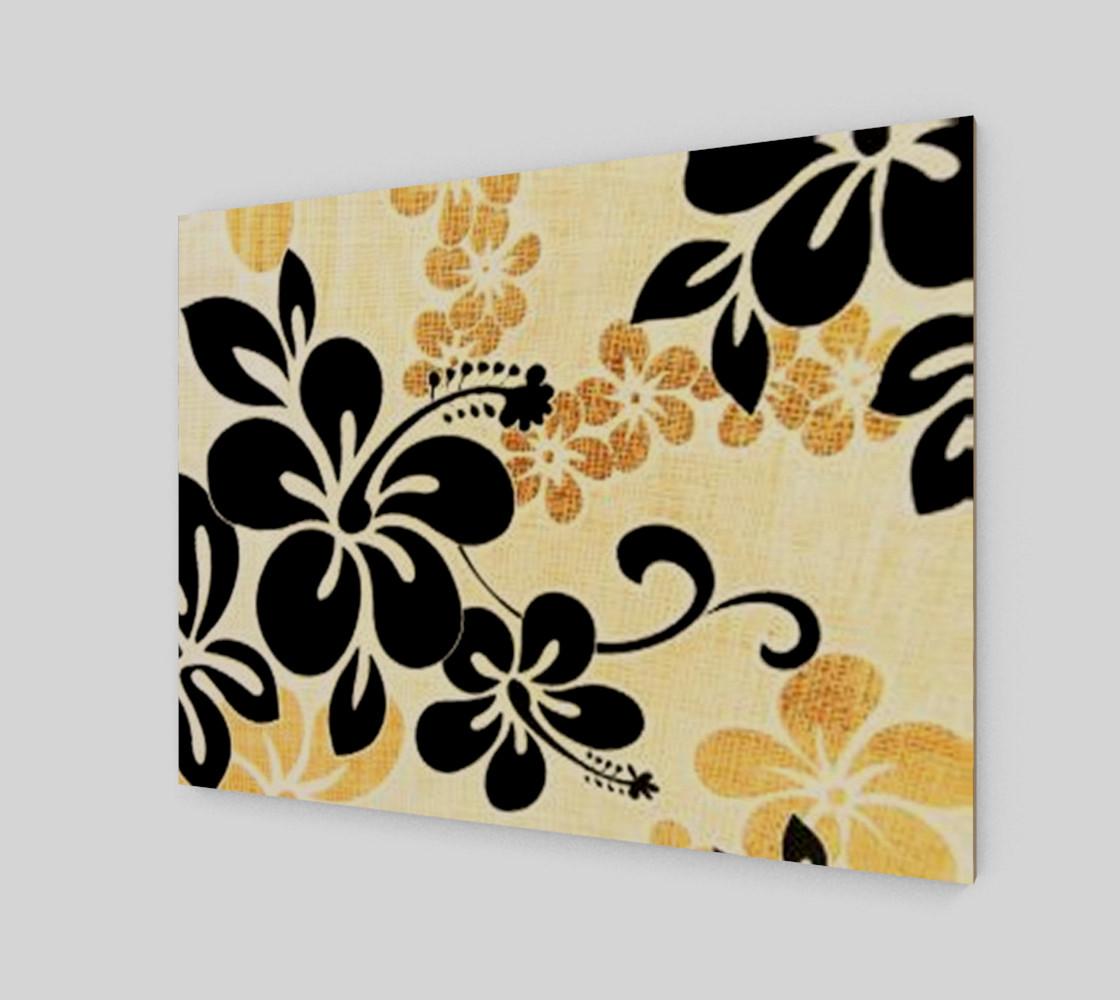 black on khaki hibiscus wrap preview #2