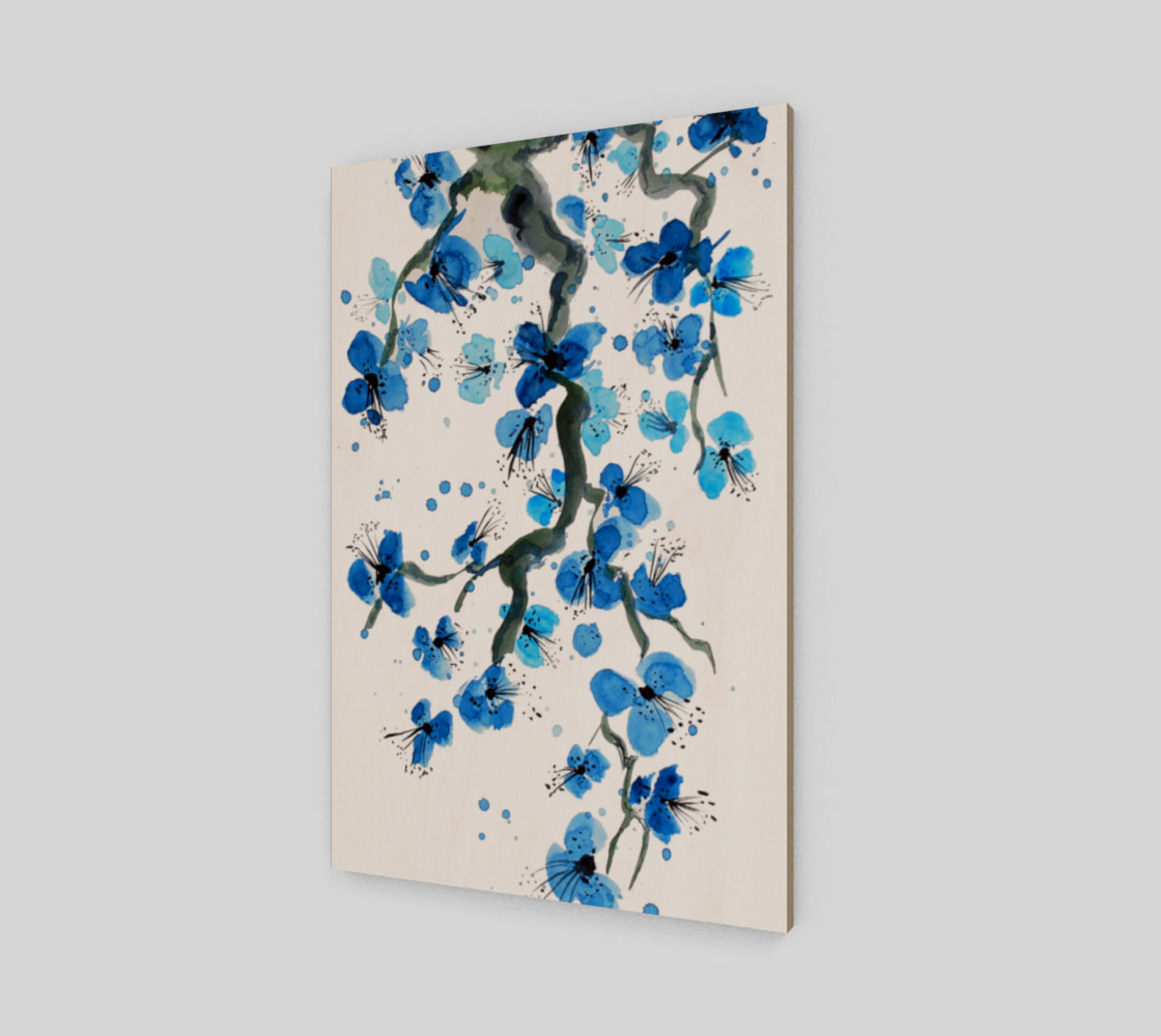 Blue Japanese Blossoms Art Print preview #2