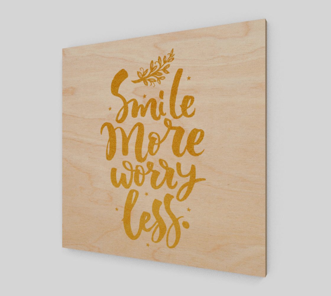 Smile More Worry Less Gold Typography preview #1