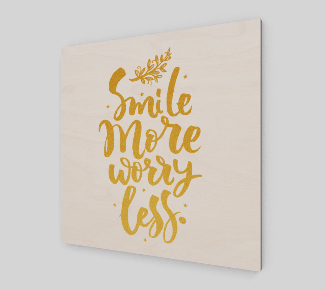 Smile More Worry Less Gold Typography preview #2