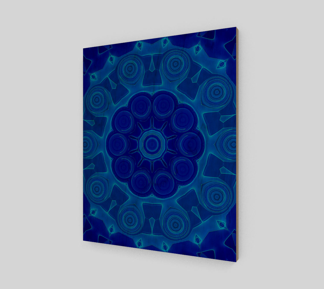 Blue Mandala Flower Art Wood Print preview #1
