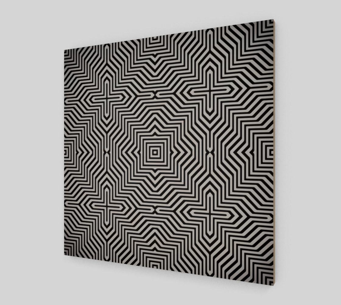 Aperçu de Minimal Geometrical Optical Illusion Style Pattern in Black & White  #2