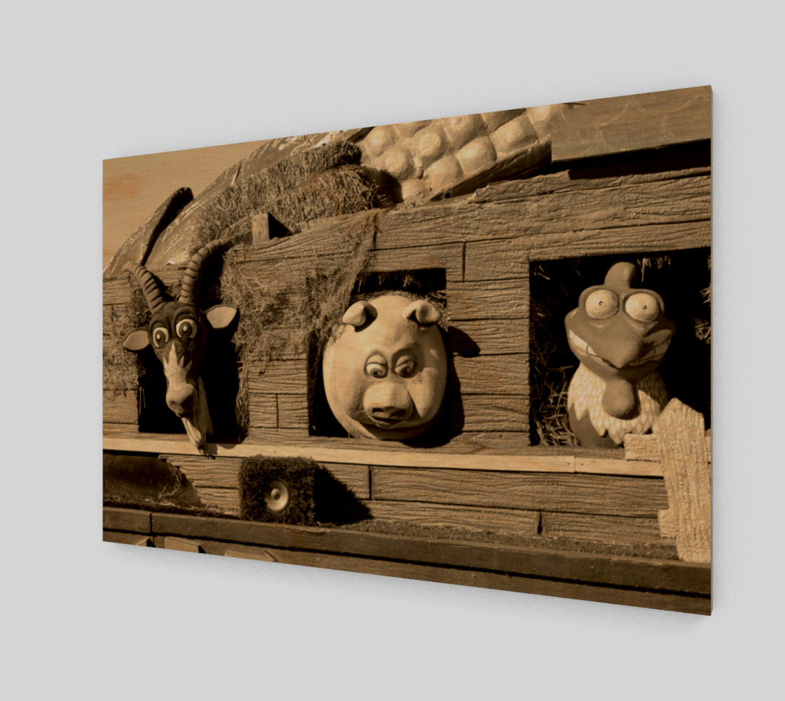Barnyard Float-Goat, Pig, & Chicken-Sepia Toned Wall Art preview #1
