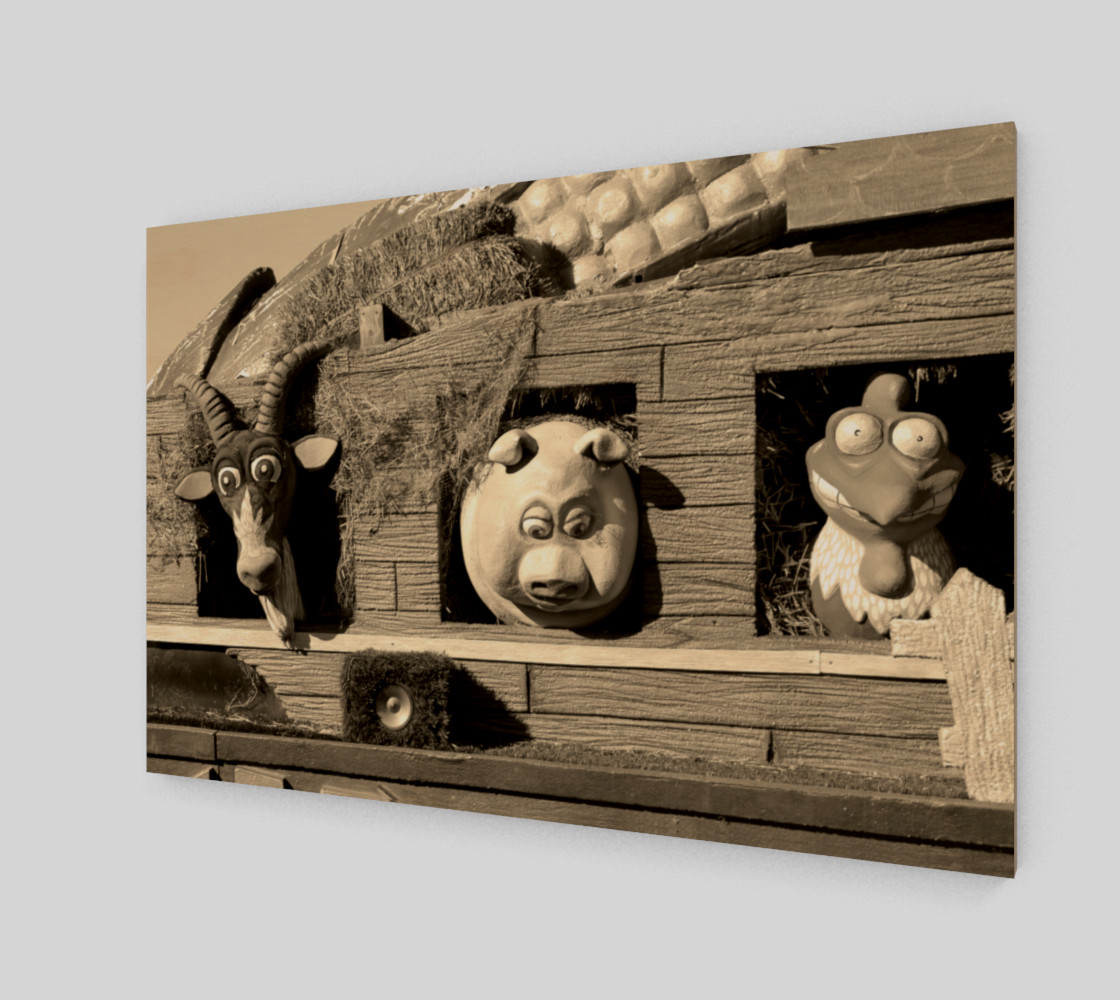 Barnyard Float-Goat, Pig, & Chicken-Sepia Toned Wall Art preview #2