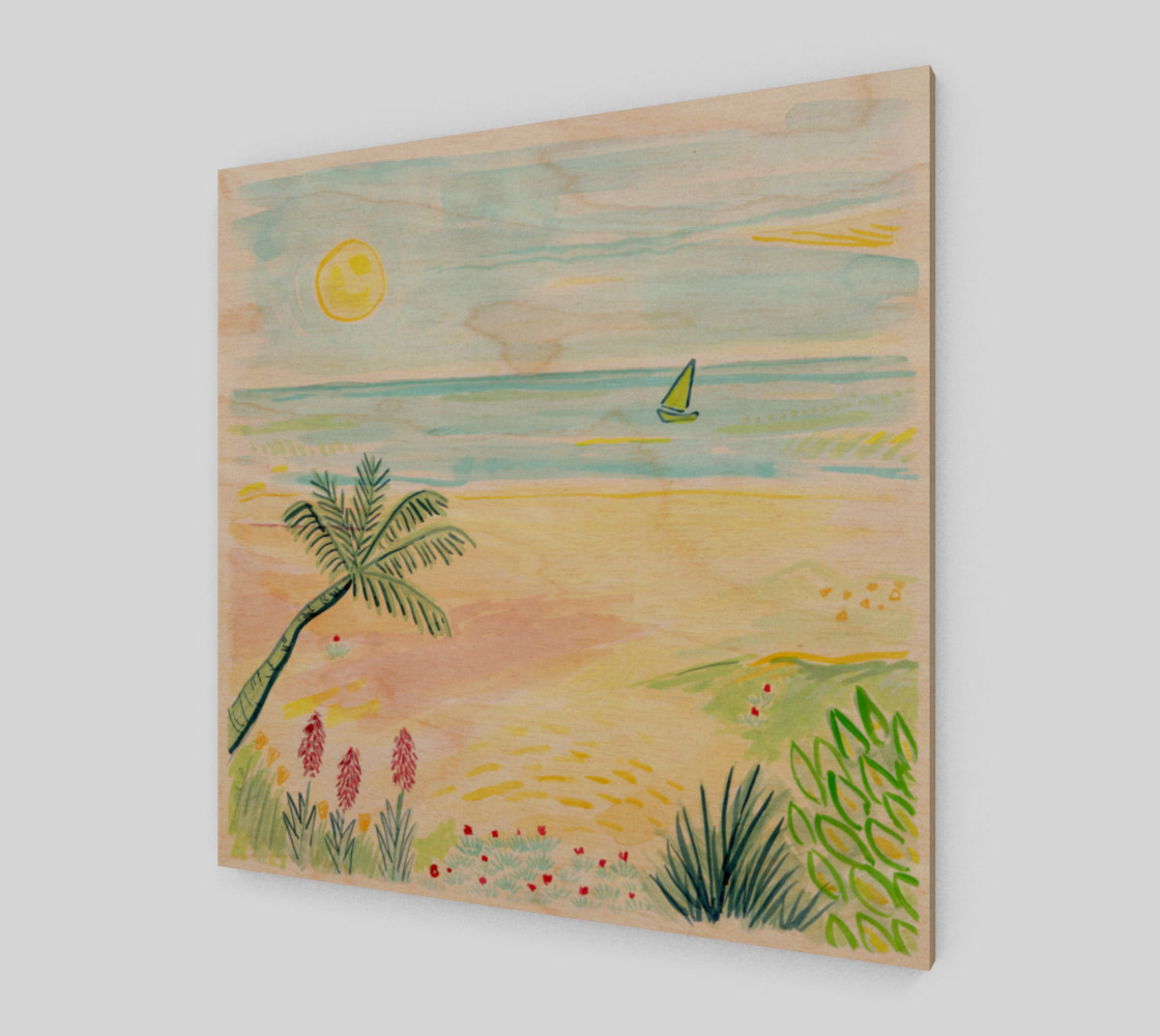 Aperçu de Beach Day Watercolor Fine Art Print #1