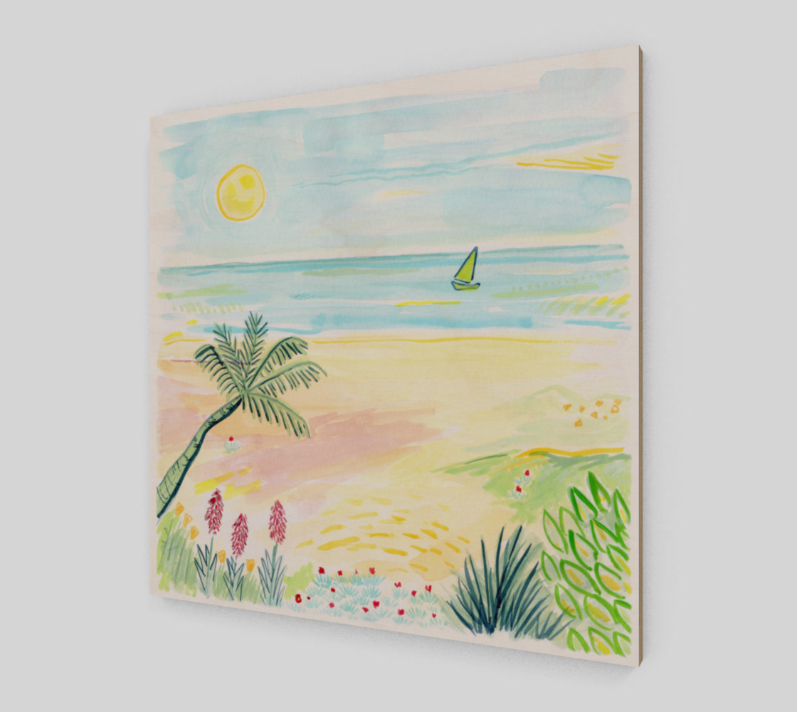 Aperçu de Beach Day Watercolor Fine Art Print #2