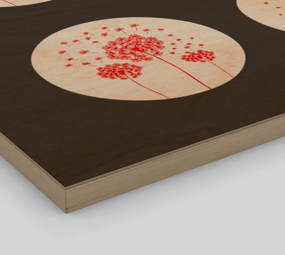 Aperçu de Contemporary Red & Gray Dandelion Print #3