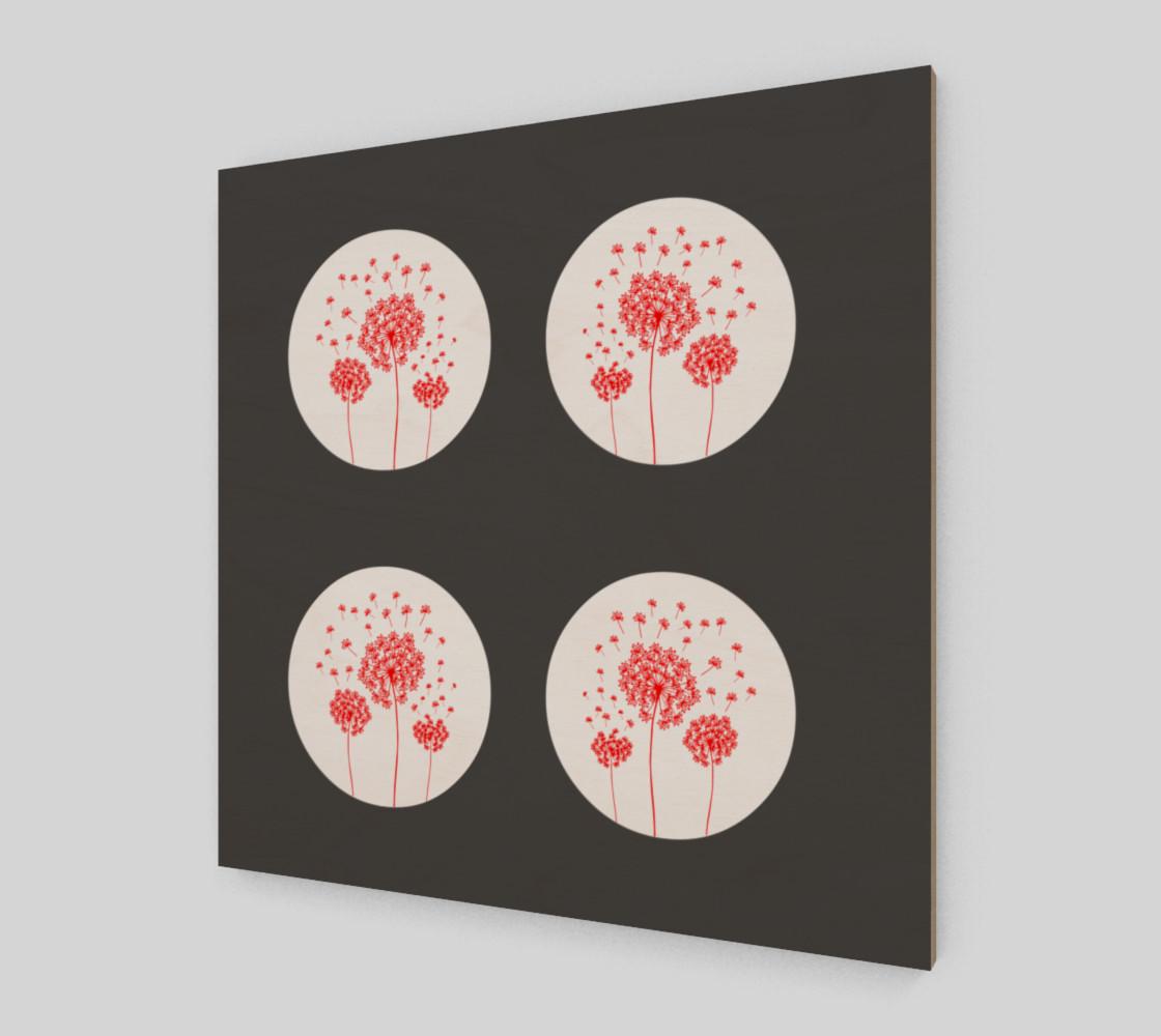 Aperçu de Contemporary Red & Gray Dandelion Print #2