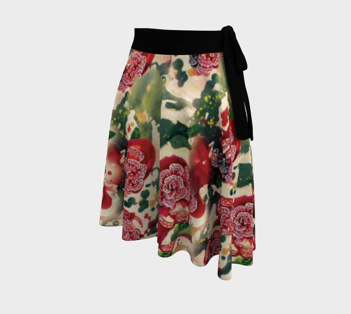 Old Red Rose Wrap Skirt  preview #2