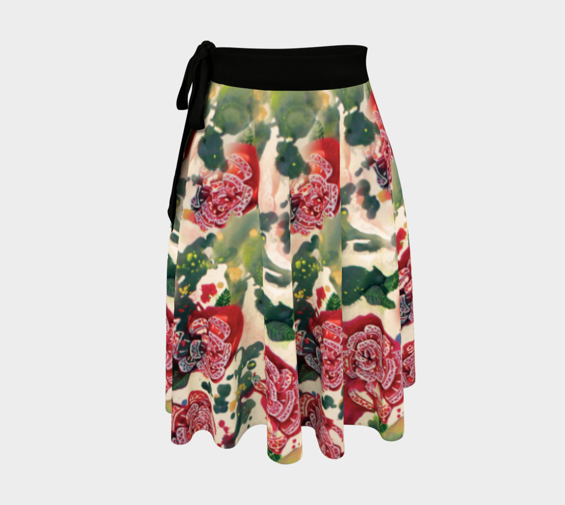 Old Red Rose Wrap Skirt  preview #1