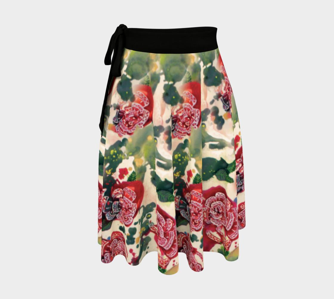 Aperçu de Old Red Rose Wrap Skirt  #1