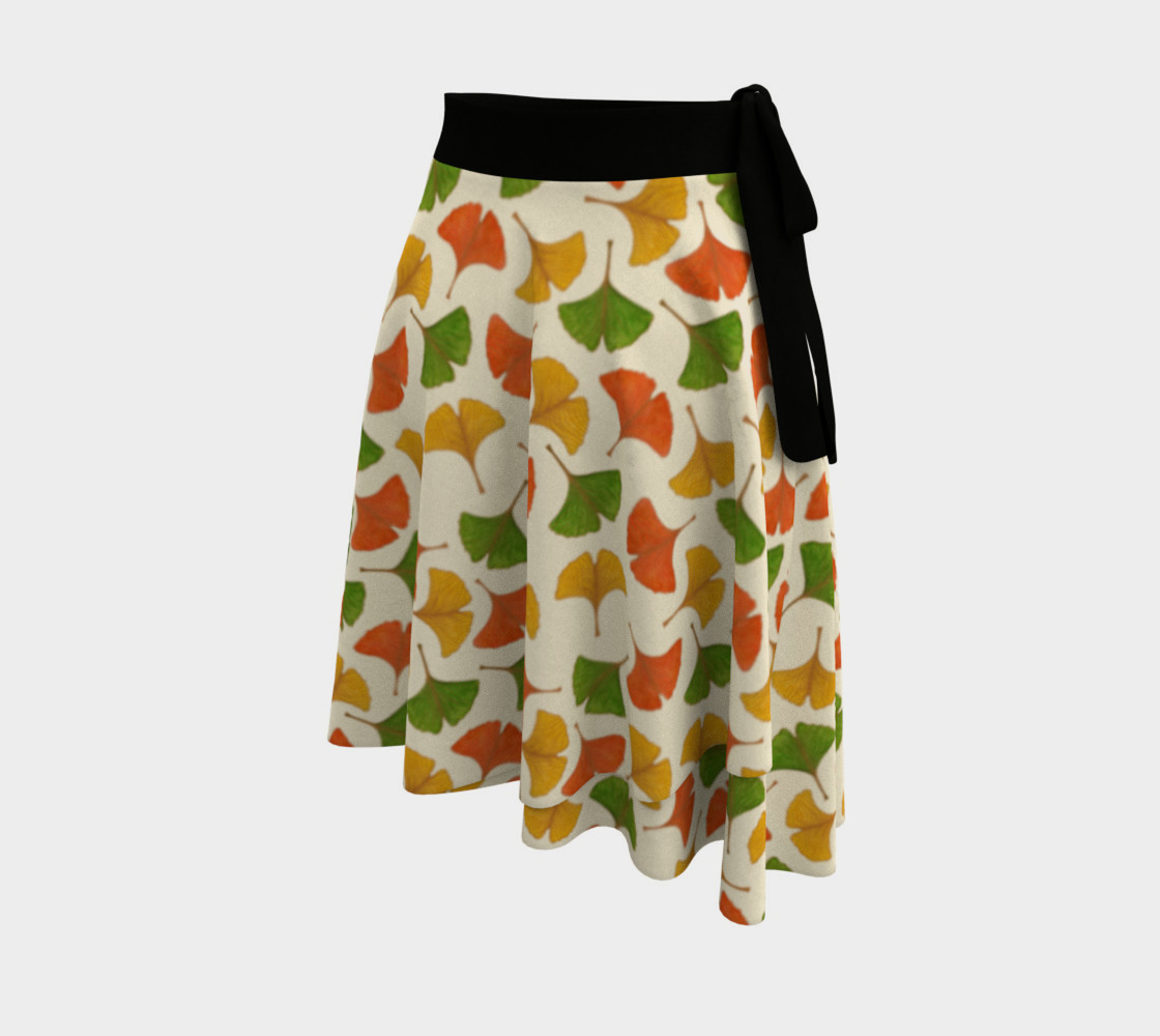 Fall ginkgo biloba leaves pattern Wrap Skirt preview #2
