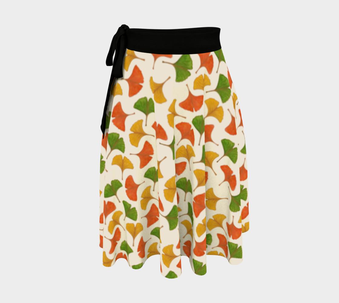 Fall ginkgo biloba leaves pattern Wrap Skirt preview #1