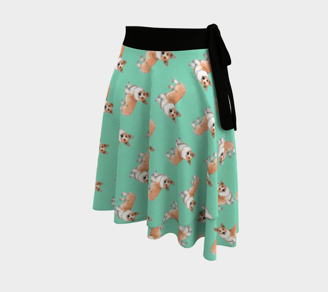 Welsh corgi dogs pattern Wrap Skirt preview #2