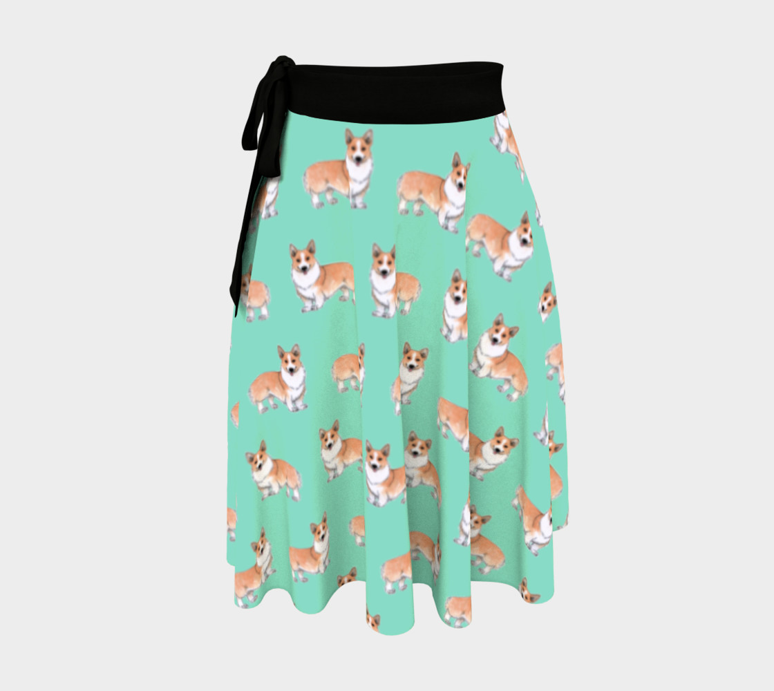 Welsh corgi dogs pattern Wrap Skirt preview #1