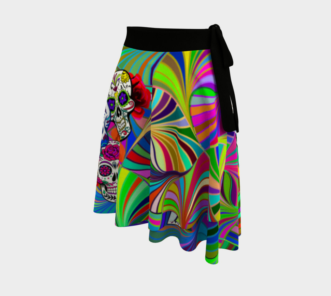 Sugar Skulls Circular Colorful Geometric Abstract Wrap Skirt, AOWSGD preview #2
