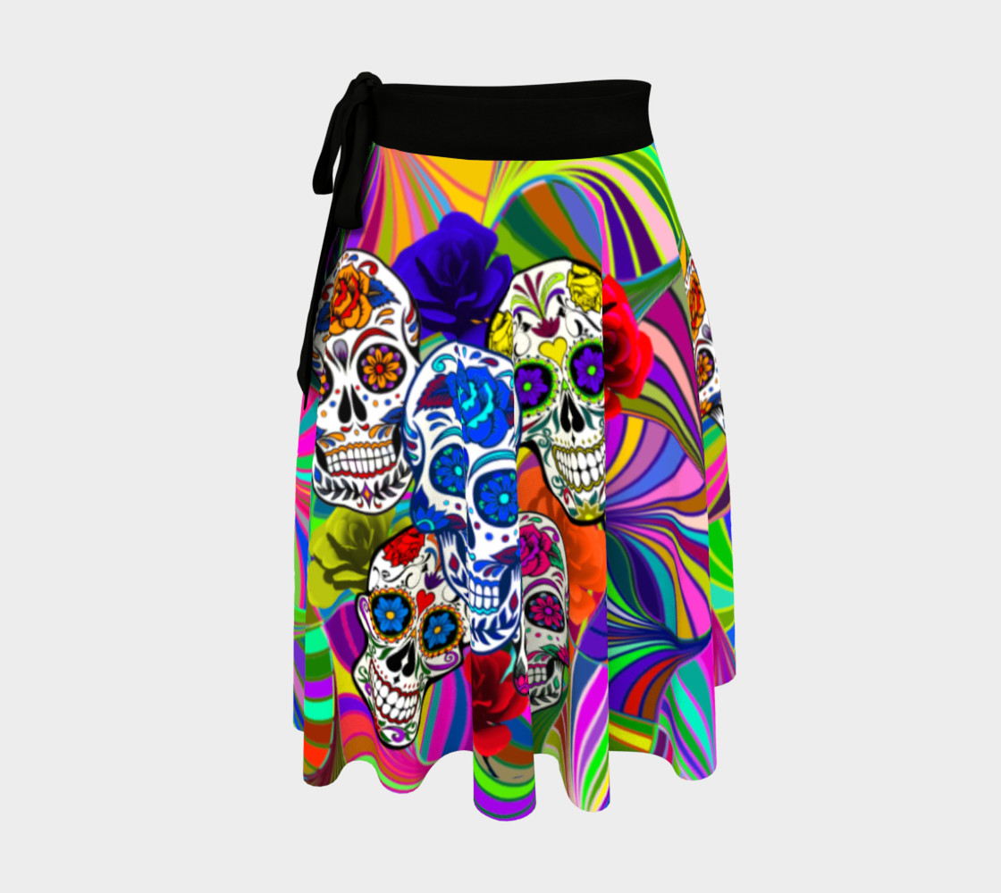 Sugar Skulls Circular Colorful Geometric Abstract Wrap Skirt, AOWSGD preview #1