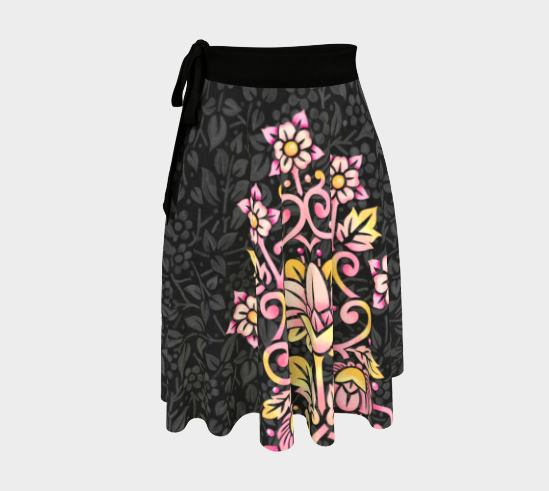 Aperçu de Rose Damask Circle Skirt #1
