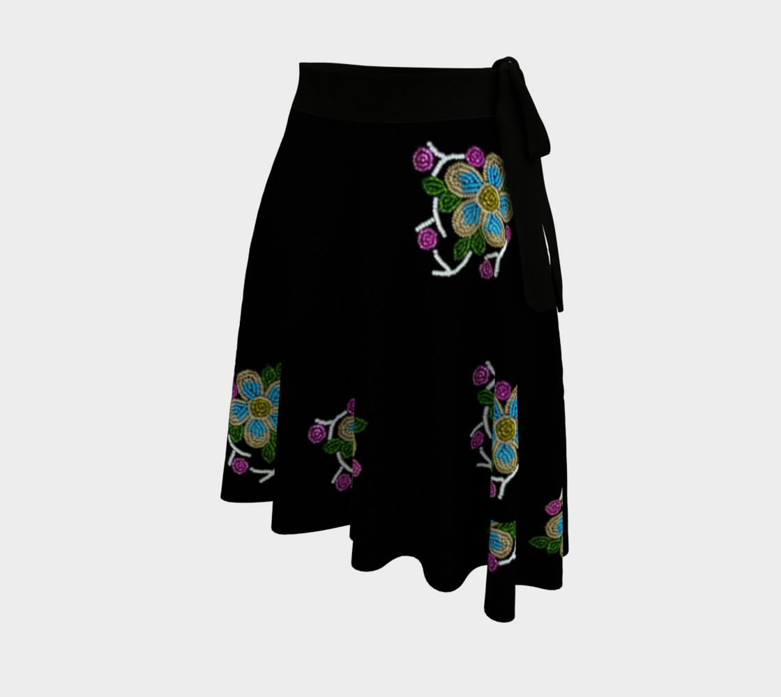 Ojibwe Beaded Floral Wrap Skirt - Authentic Beadwork Design preview #2