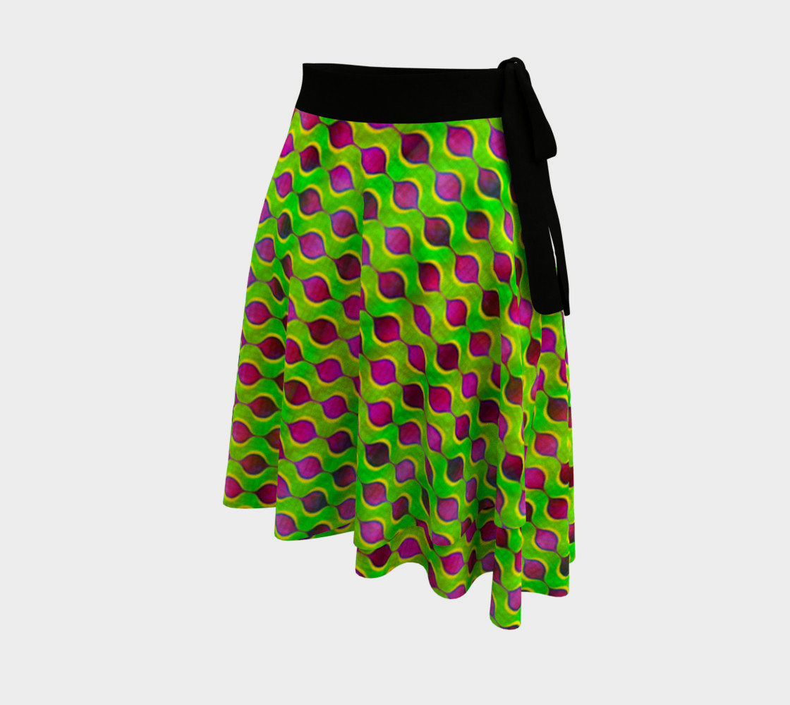Fun Bright Green Purple Ogee Pattern Wrap Skirt preview #2