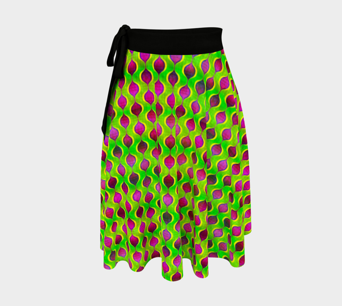 Fun Bright Green Purple Ogee Pattern Wrap Skirt preview #1