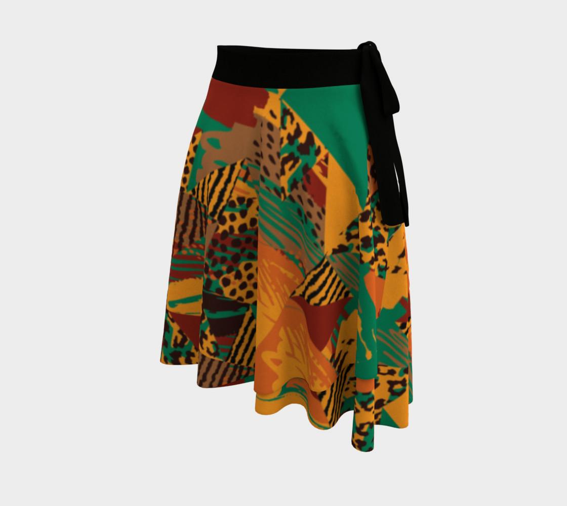 Abstract Safari Print Wrap Skirt preview #2