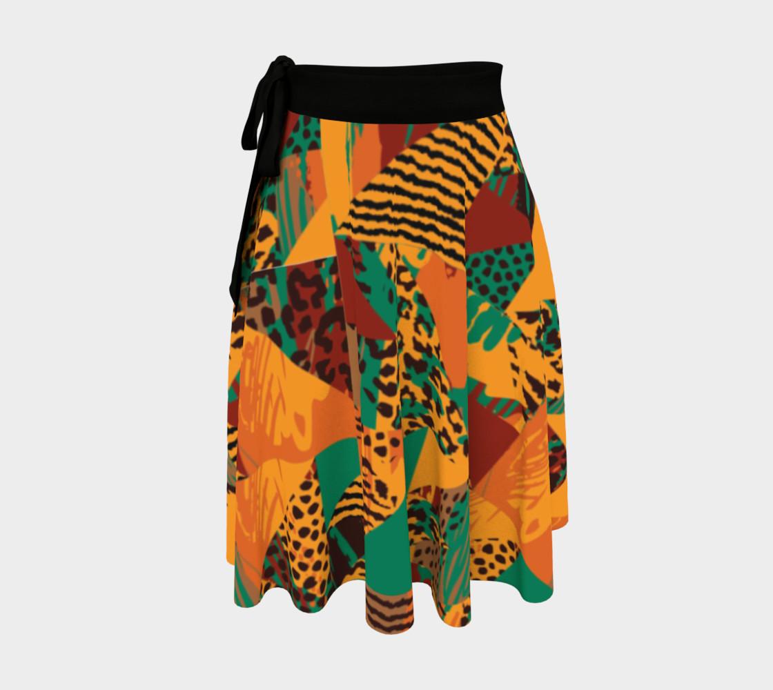 Abstract Safari Print Wrap Skirt preview #1