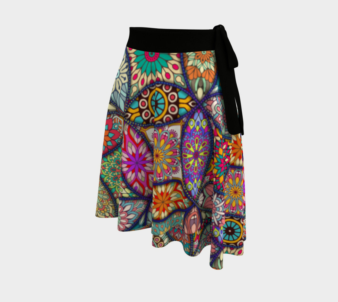 Vibrant Mandalas Wrap Skirt preview #2