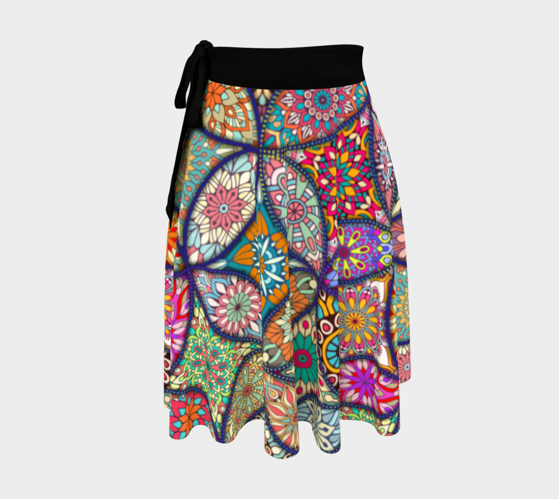 Vibrant Mandalas Wrap Skirt preview #1