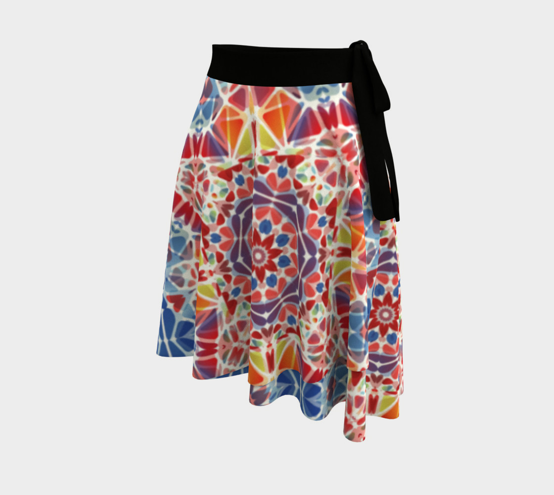 Blue and Orange Kaleidoscope Wrap Skirt preview #2