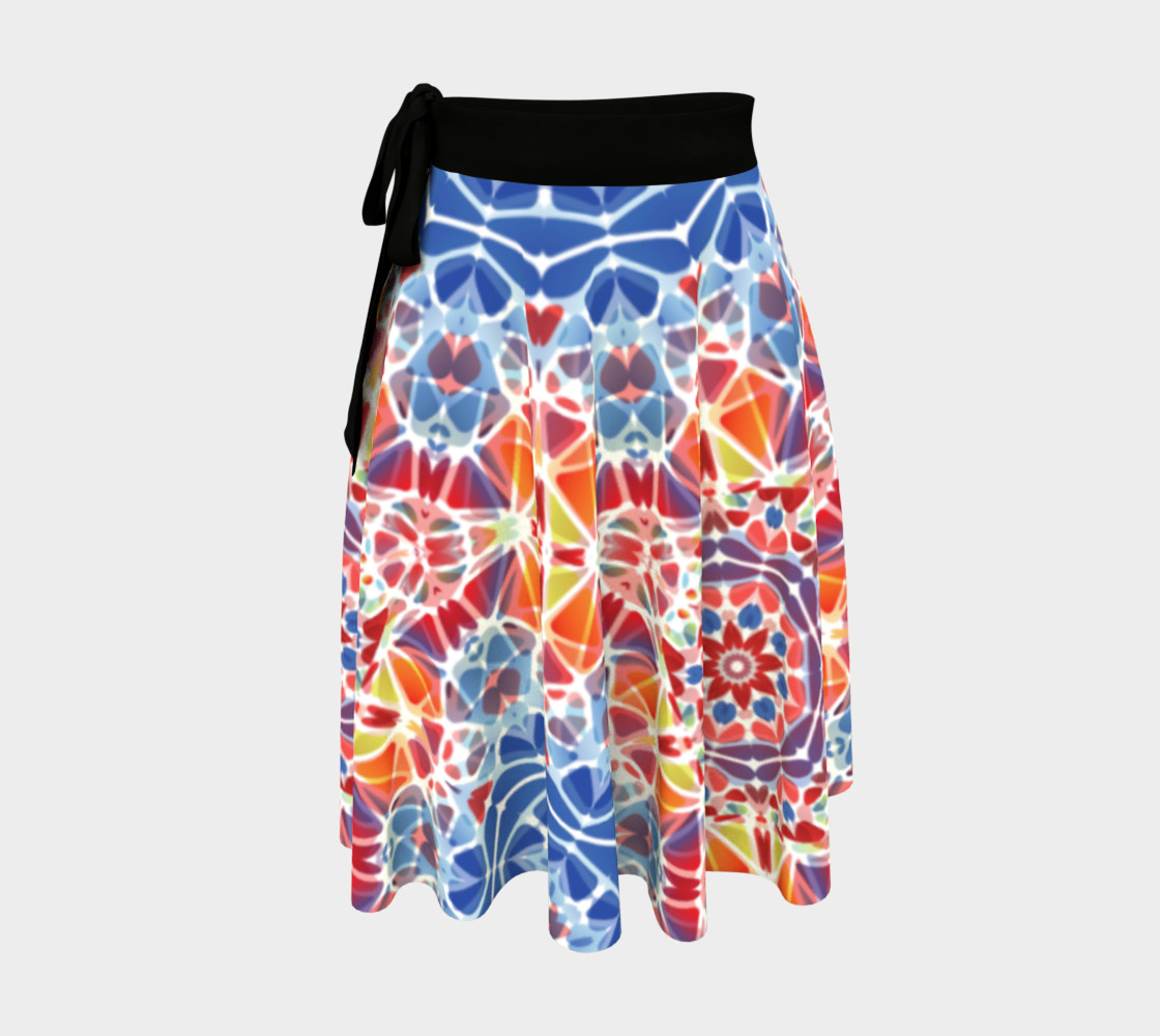 Blue and Orange Kaleidoscope Wrap Skirt preview #1
