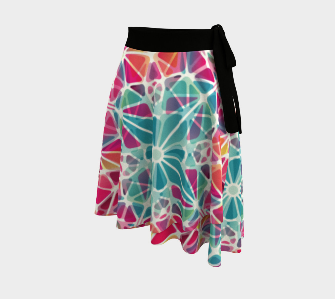 Pink and Blue Kaleidoscope Wrap Skirt preview #2