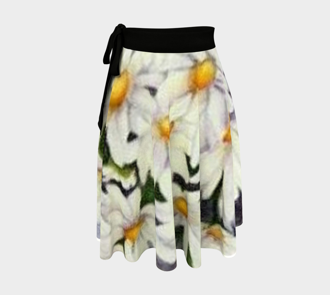 White Daisy Bouquet Wrap Skirt preview #1