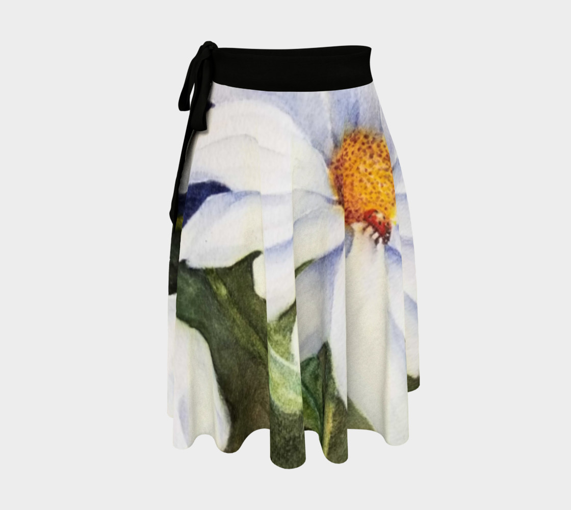 White Daisy Lady Bug Wrap Skirt preview #1