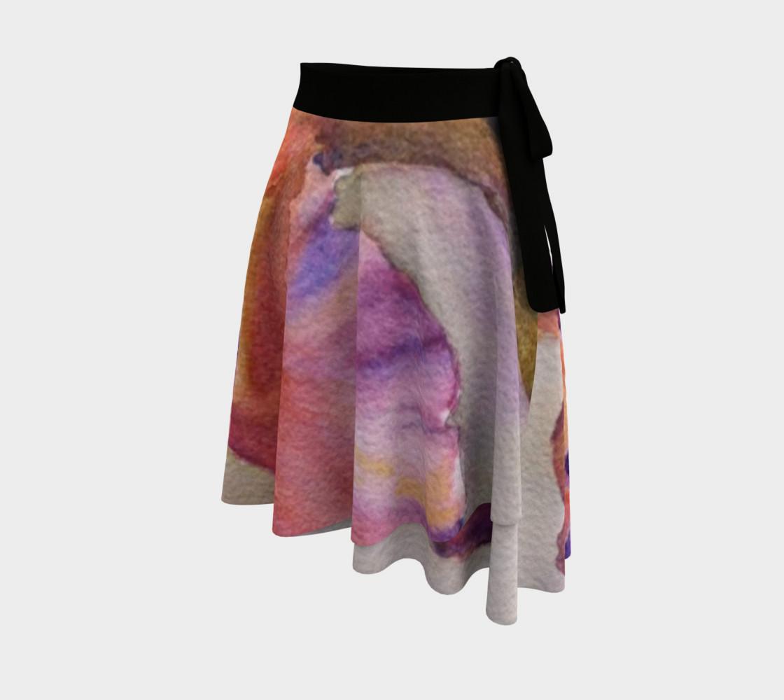 Pink Orange Iris Petals Wrap Skirt preview #2