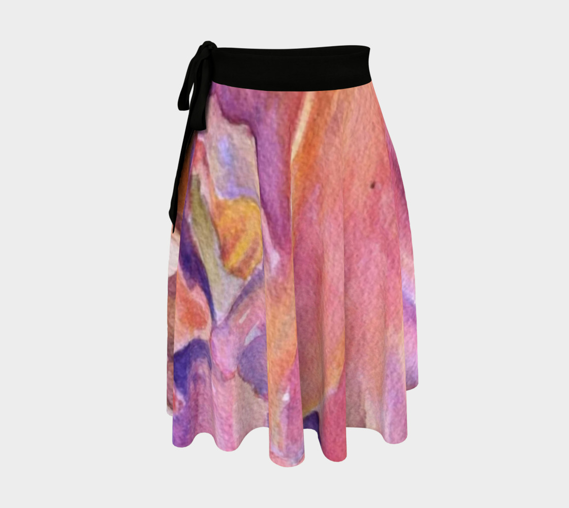 Pink Orange Iris Petals Wrap Skirt preview #1