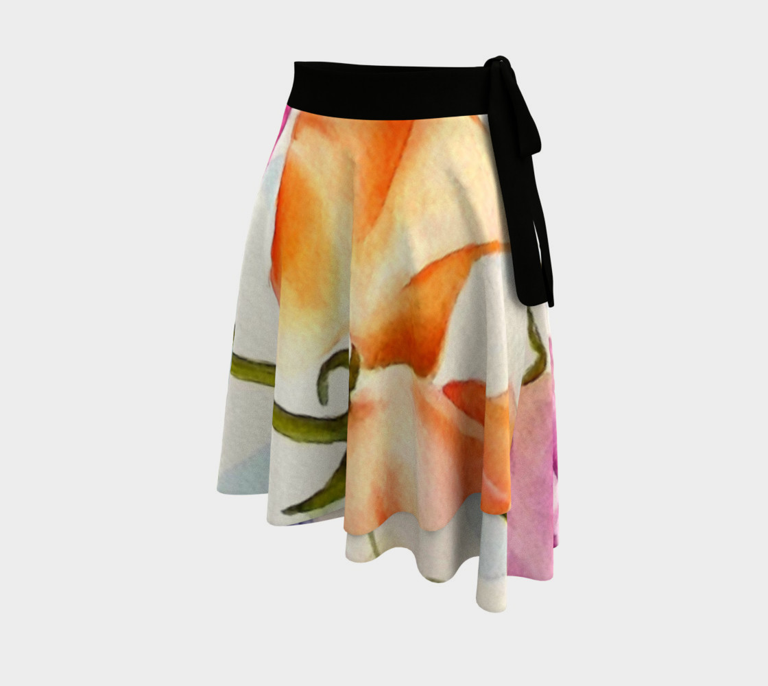 Colorful Sweet Peas Wrap Skirt preview #2