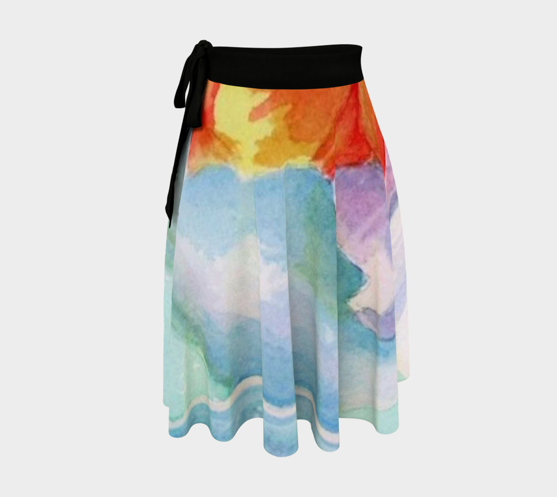 Blue Orange Pansies Wrap Skirt 3D preview