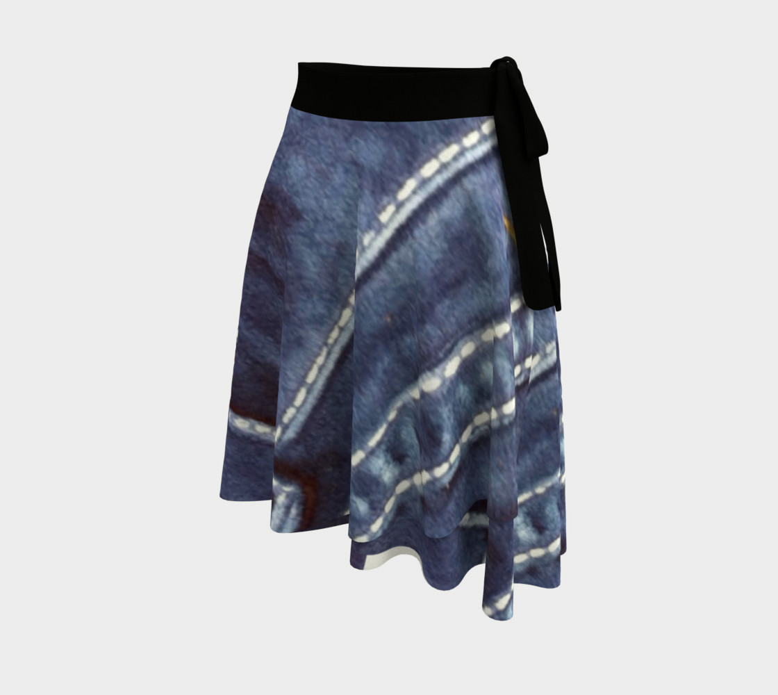 Pink Rose Blue Jeans Wrap Skirt preview #2