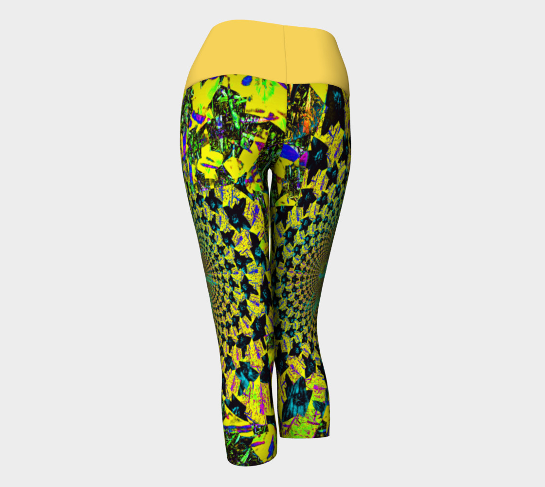 Yellow Flower Fractal and Kaleidoscope Art Yoga Capris preview #3
