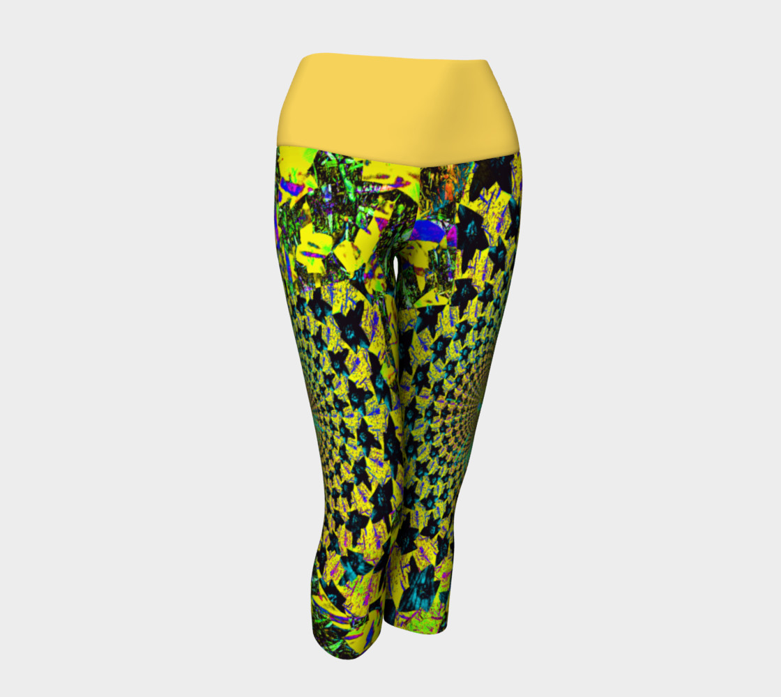 Yellow Flower Fractal and Kaleidoscope Art Yoga Capris preview #1