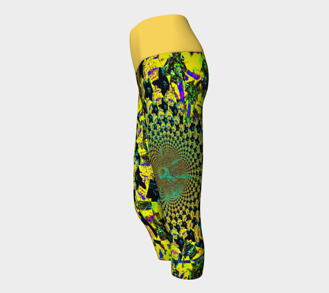 Yellow Flower Fractal and Kaleidoscope Art Yoga Capris preview #2